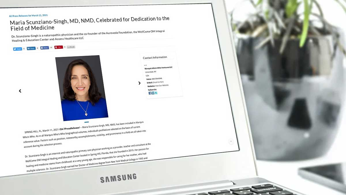 Maria Scunziano-Singh, MD, NMD in Who's Who