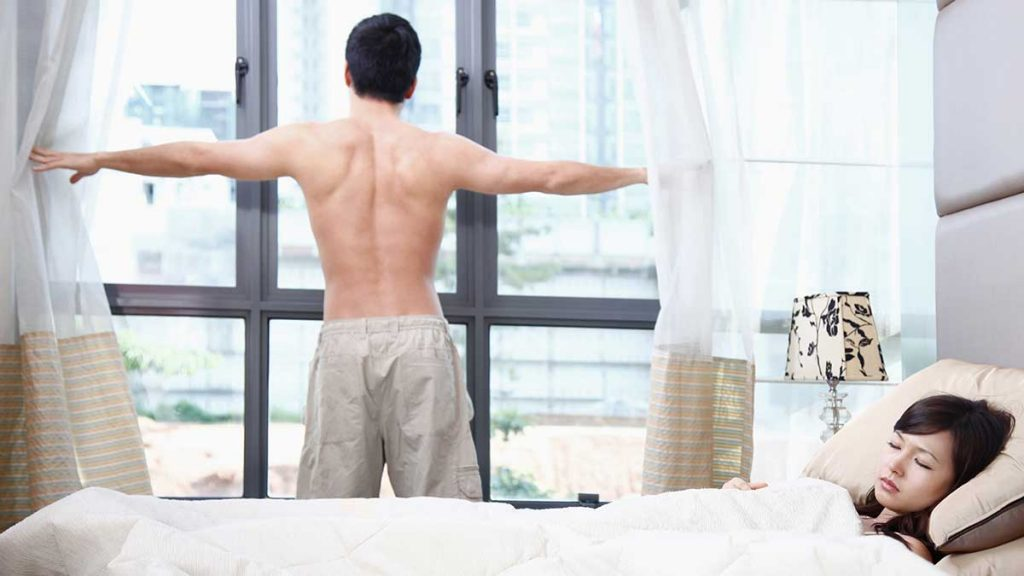 man stretching in the morning