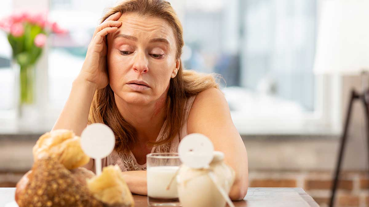 woman fatigued by gluten and dairy