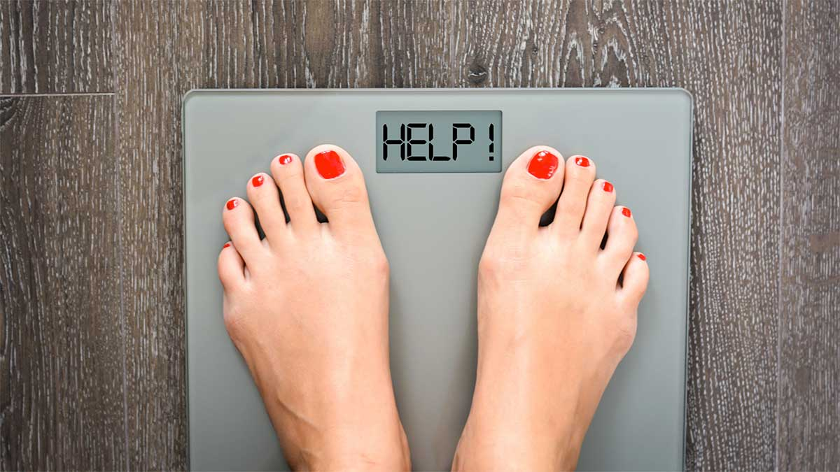 weight loss scale with help message